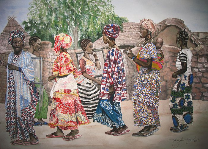Painting Greeting Card featuring the painting Malian Dancers by Caron Sloan Zuger