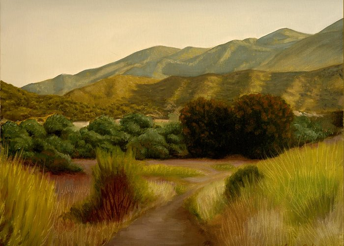 Path Greeting Card featuring the painting Malibu Trail by Lance Anderson