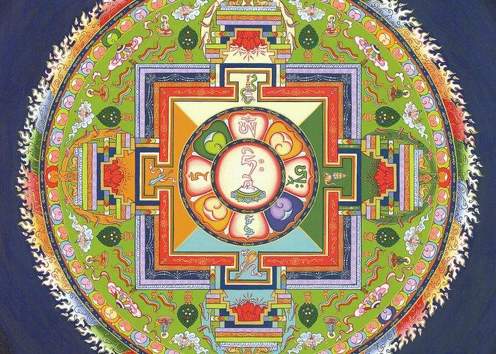 Mandala Greeting Card featuring the painting Mandala Of Avalokiteshvara      by Carmen Mensink