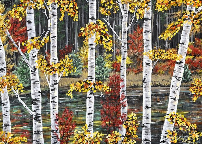 Lynn Huttinga Greeting Card featuring the painting Manitoba Birch by Lynn Huttinga