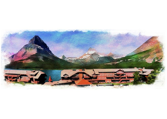 Many Greeting Card featuring the photograph Many Glacier Hotel Panorama by Margie Wildblood