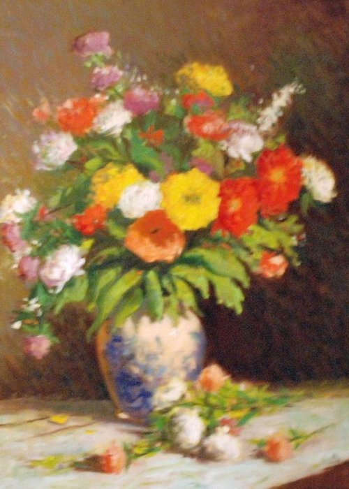 Impression Of Market Flowers Greeting Card featuring the painting Market Flowers Impression by David Olander