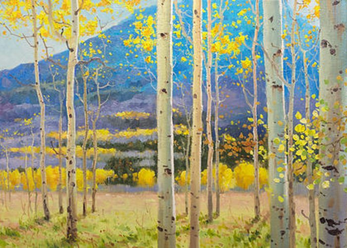 Panorama View Maroon Bells National Park In Falls Aspen Colorado Aspen Trees Birch Autumn Gary Kim Oil Print Art Nature Scenes Hospital Healing Santa Fe Fall Trees Autumn Season Beautiful Beauty Yellow Red Orange Fall Leaves Foliage Autumn Leaf Color Mountain Oil Painting Original Art Horizontal Landscape Park America Morning Nature Panoramic Peaceful Scenic Sky Sun Travel Vacation View Season Bright Autumn National Park America Clouds Landscape Natural Painting Oil Original Vibrant Blue Sky Greeting Card featuring the painting Maroon Bells by Gary Kim