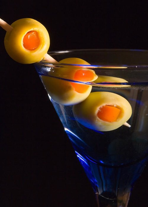 Drink Greeting Card featuring the photograph Martini Cocktail With Olives In A Blue Glass by ELITE IMAGE photography By Chad McDermott