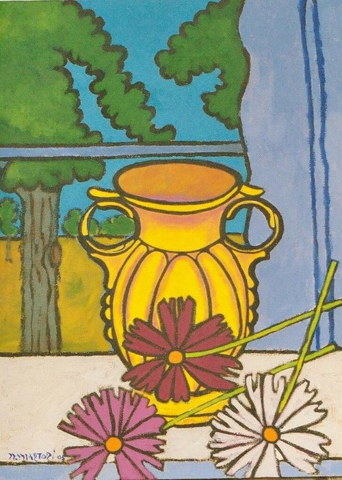 Mccoy Greeting Card featuring the painting Mccoy Vase With Cosmos by Nicholas Martori