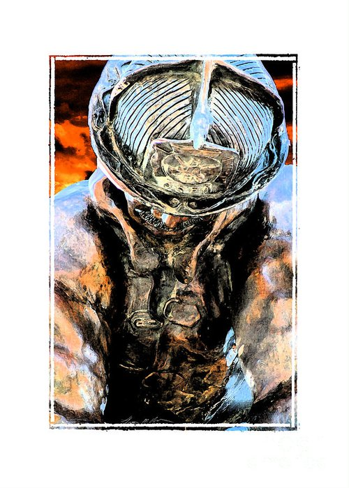 Firefighter Greeting Card featuring the digital art Memorial To A Hero by Tommy Anderson