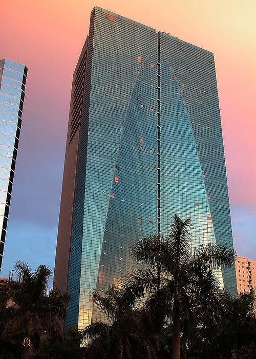 Skycraper Greeting Card featuring the photograph Miami Skyscraper At Sunset by Carl Purcell