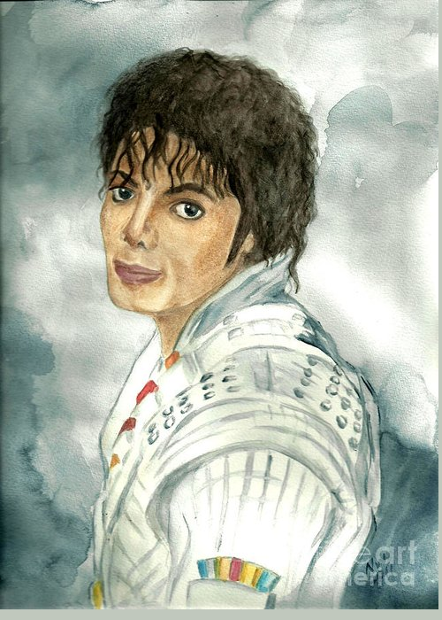 Michael Jackson Greeting Card featuring the painting Michael Jackson - Captain Eo by Nicole Wang