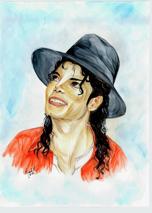 Michael Jackson Greeting Card featuring the painting Michael Jackson - Keep The Faith by Nicole Wang