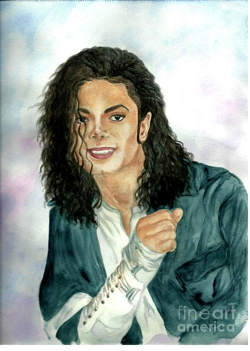 Michael Jackson Greeting Card featuring the painting Michael Jackson - Will You Be There by Nicole Wang