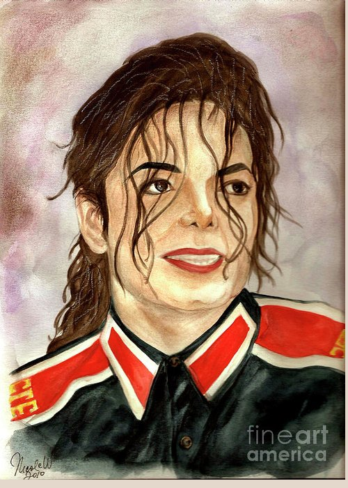 Michael Jackson Greeting Card featuring the painting Michael Jackson - You Are My Life by Nicole Wang