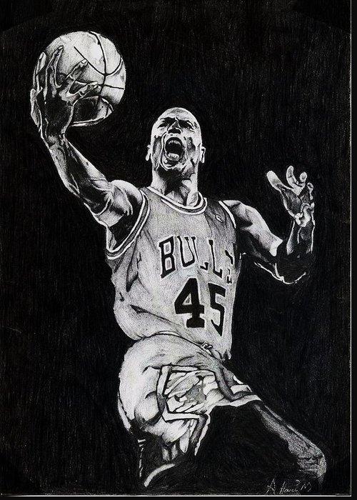 Michael Greeting Card featuring the drawing Michael Jordan by Hari Mohan