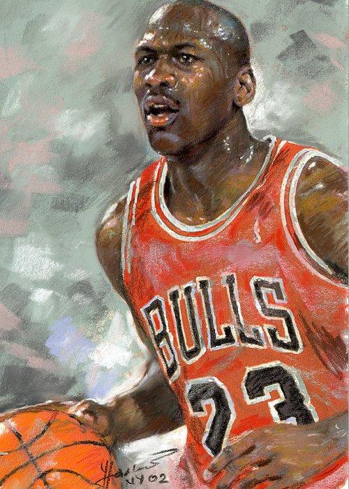 Michel Jordan Greeting Card featuring the pastel Michael Jordan by Ylli Haruni