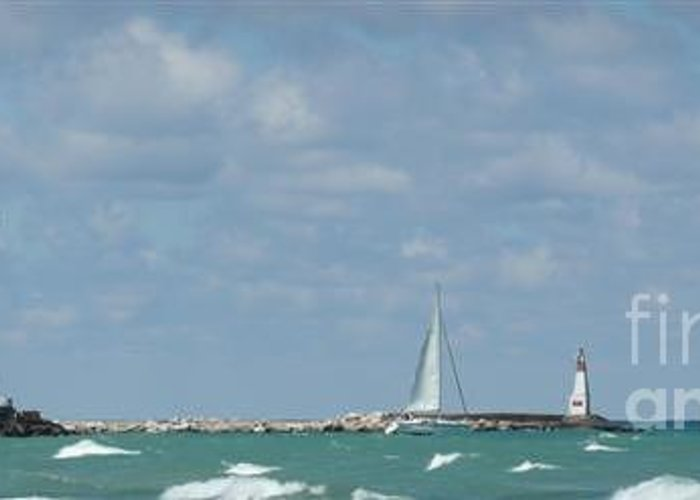 Scenery Greeting Card featuring the photograph Michigan City Beach Lighthouse by Barb Montanye Meseroll