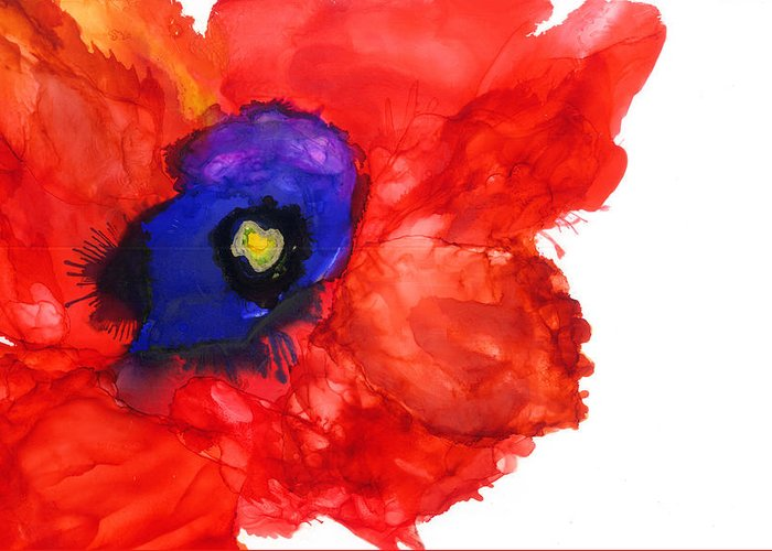 Red Greeting Card featuring the mixed media Midnight Bloom by Marilyn Johnson
