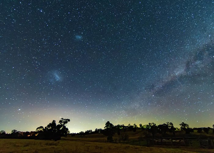 Astro Greeting Card featuring the photograph Milky Way And Countryside by Merrillie Redden