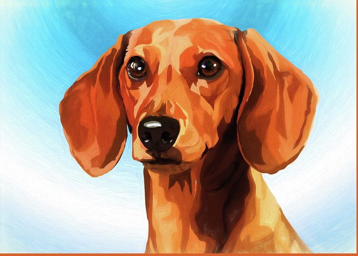 Miniature dachshund greeting card for sale by alexey bazhan miniature dachshund greeting card featuring the mixed media miniature dachshund by alexey bazhan m4hsunfo