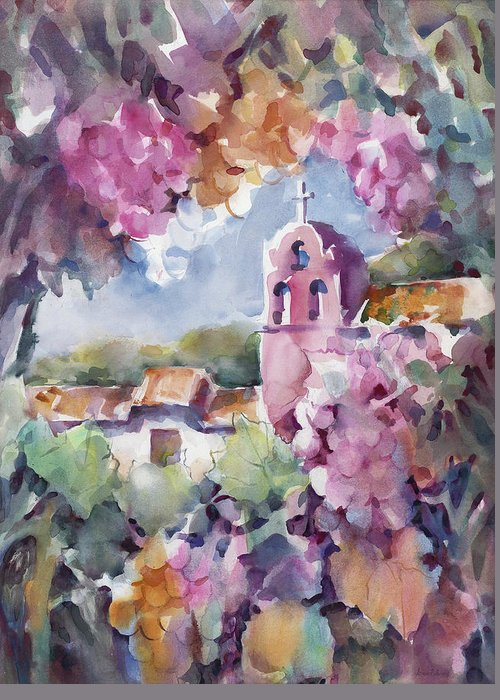 La Purisima Greeting Card featuring the painting Mission Vineyard by Joan Jones