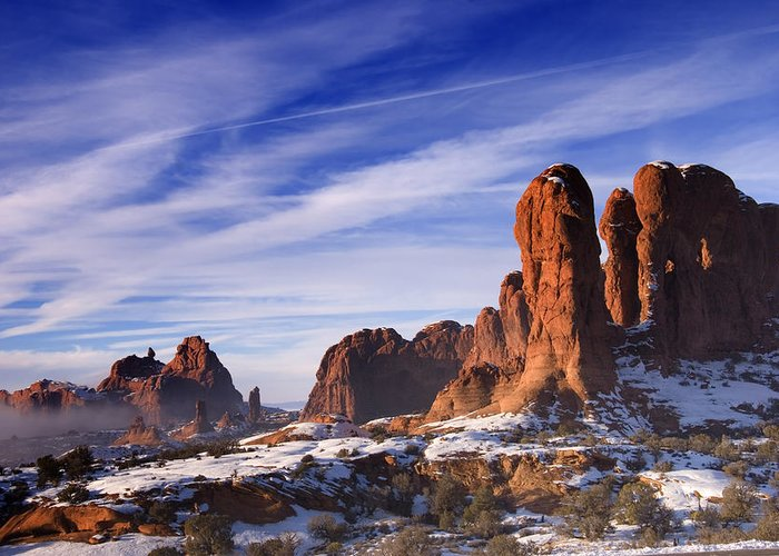 Arches National Park Greeting Card featuring the photograph Mist Rising In Arches National Park by Utah Images