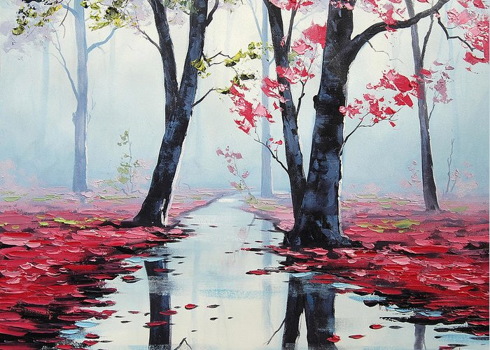 Fall Greeting Card featuring the painting Misty Pink by Graham Gercken