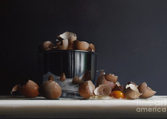 Still Greeting Card featuring the painting Mixing Bowl With Eggs by Larry Preston