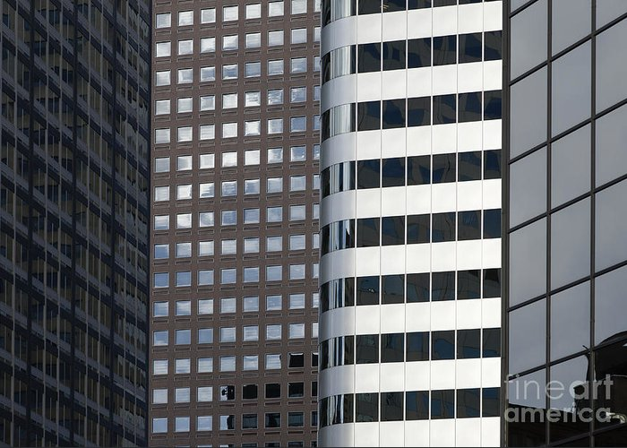 Architecture Greeting Card featuring the photograph Modern High Rise Office Buildings by Roberto Westbrook