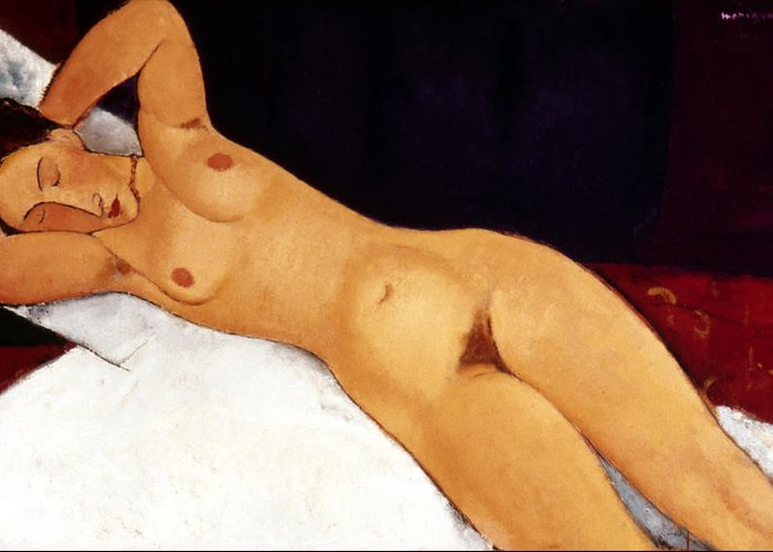 1917 Greeting Card featuring the painting Modigliani Nude 1917 by Granger