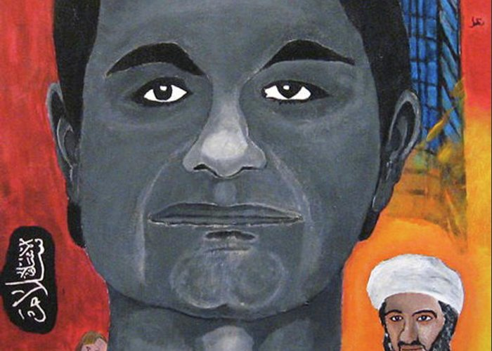 Mohamed Greeting Card featuring the painting Mohamed Atta by Darren Stein