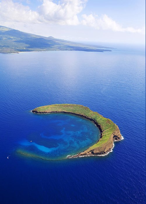 Above Greeting Card featuring the photograph Molokini Aerial by Ron Dahlquist - Printscapes