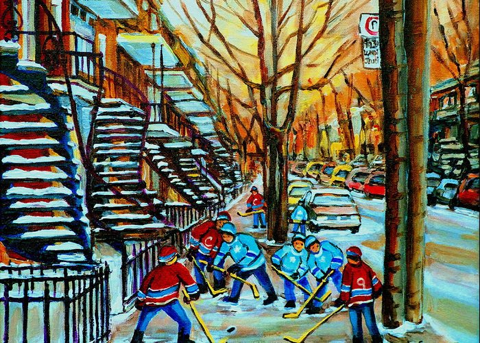 Hockey Greeting Card featuring the painting Montreal Hockey Paintings by Carole Spandau