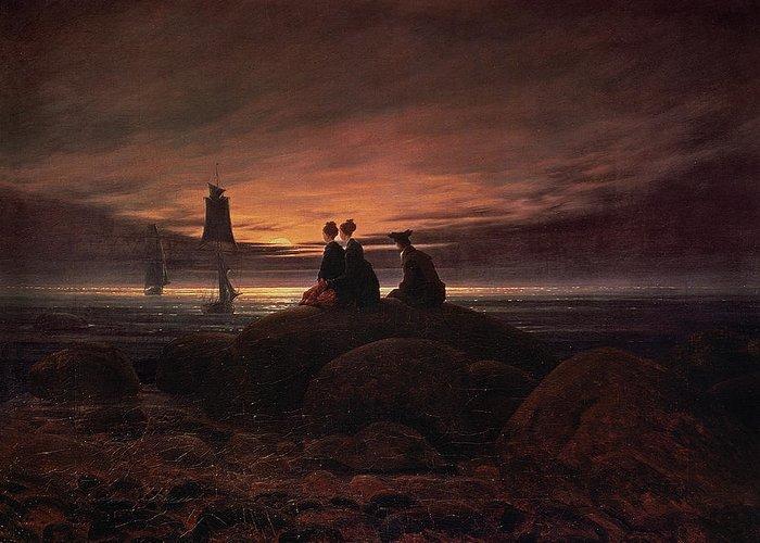 Moon Rising Over The Sea Greeting Card featuring the painting Moon Rising Over The Sea by Caspar David Friedrich
