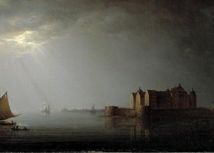 Carl Johan Fahlcrantz (1779-1861)-'kalmar Castle By Moonlight'-oil On Canvas-1835 Greeting Card featuring the digital art Moonlight by Mark Carlson