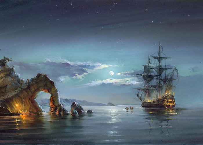 Anvas Prints Greeting Card featuring the painting Moonlight Night by Roman Romanov