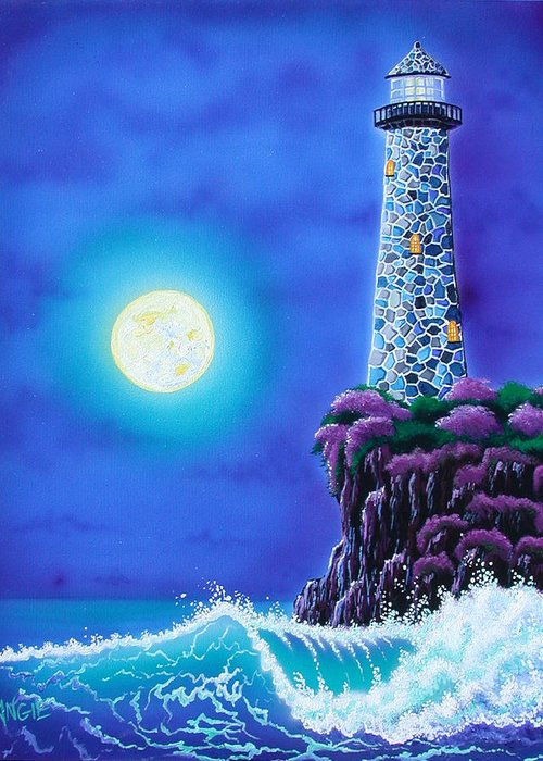 Lighthouse Greeting Card featuring the painting Moonlight Vigil by Angie Hamlin