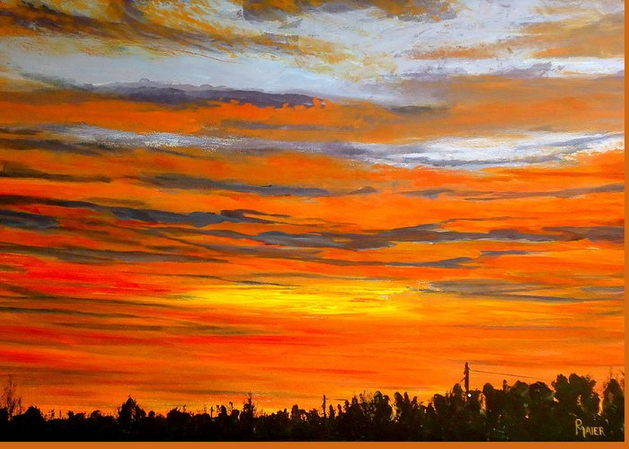 Sunrise Greeting Card featuring the painting Mornin by Pete Maier