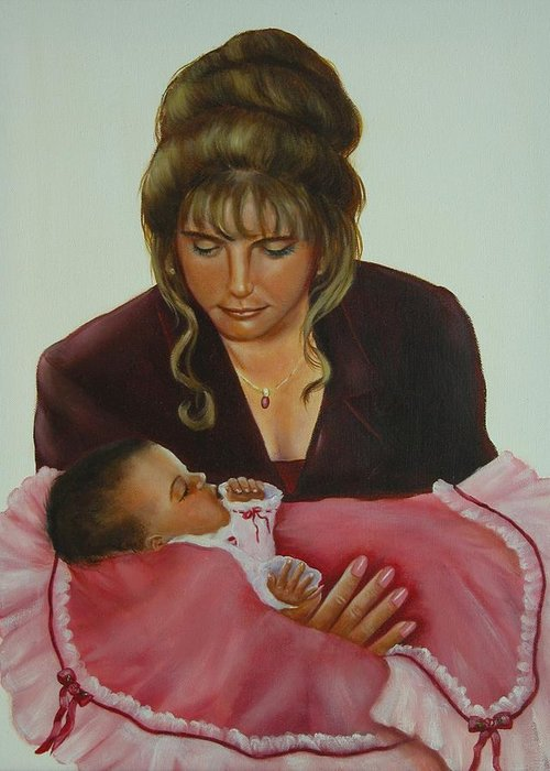 Portrait Greeting Card featuring the painting Mother And Child by Joni McPherson