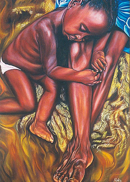 Figurative Greeting Card featuring the painting Mother And Child by Shahid Muqaddim