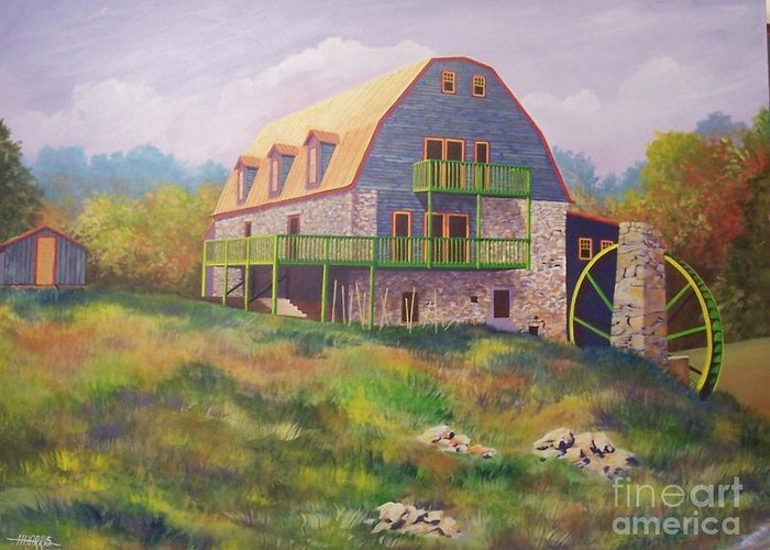 Mill Greeting Card featuring the painting Mountain Mill by Hugh Harris
