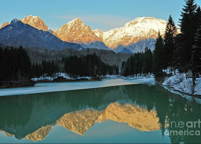 Mountains Greeting Card featuring the photograph Mountain Reflections On Lago Di Barcis by Emilio Lovisa