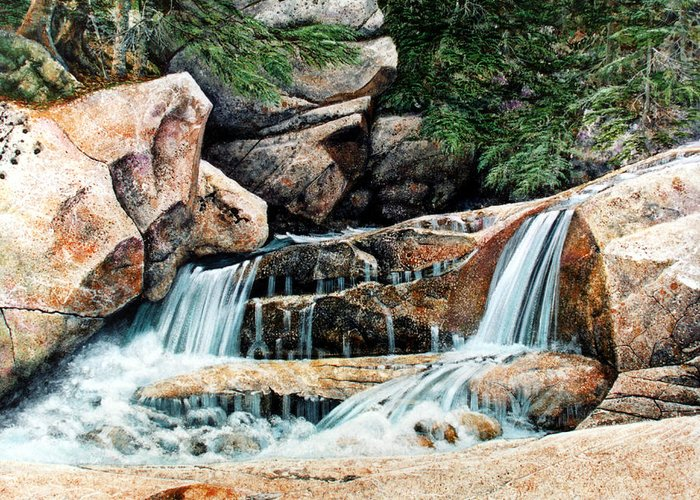 Landscape Greeting Card featuring the painting Mountain Stream by Frank Wilson