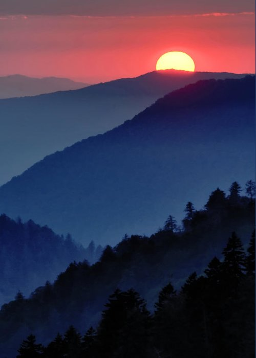Sunset Greeting Card featuring the photograph Mountain Sunset by Paul Wilkinson