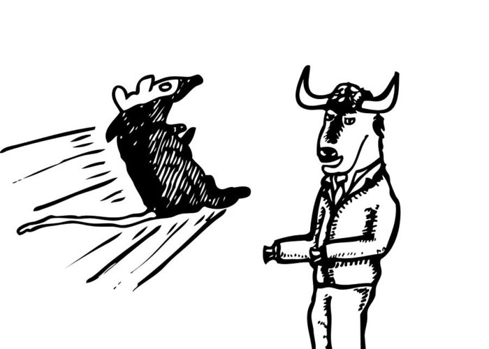 Drawing Greeting Card featuring the drawing Mouse Vs. Buffalo by Karl Addison
