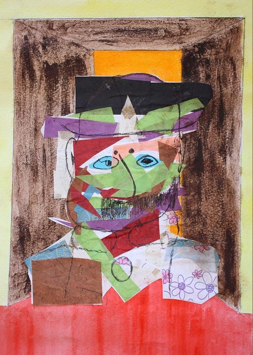 Collage Greeting Card featuring the painting Mr Leopold Bloom by Roger Cummiskey