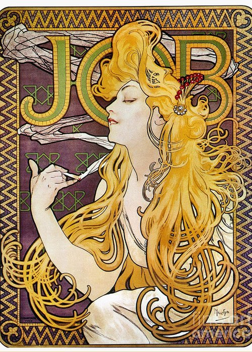 1897 Greeting Card featuring the photograph Mucha: Cigarette Papers by Granger