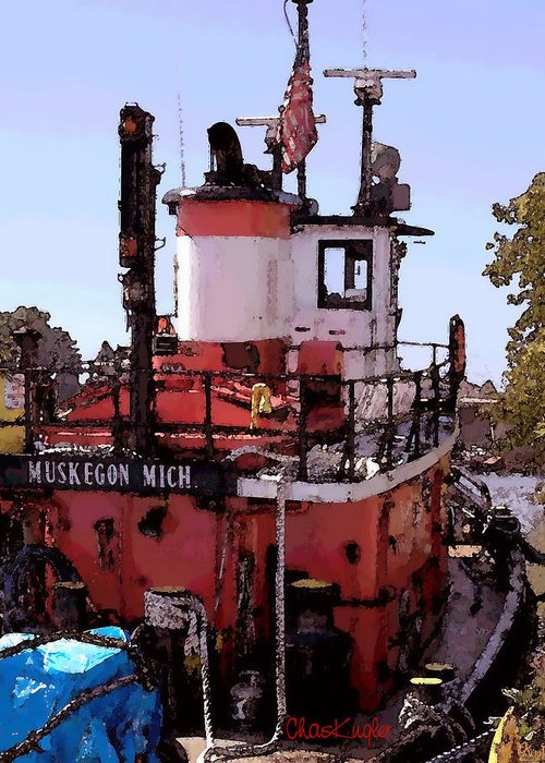 Nautical Greeting Card featuring the photograph Muskegon Tug by Chuck Kugler