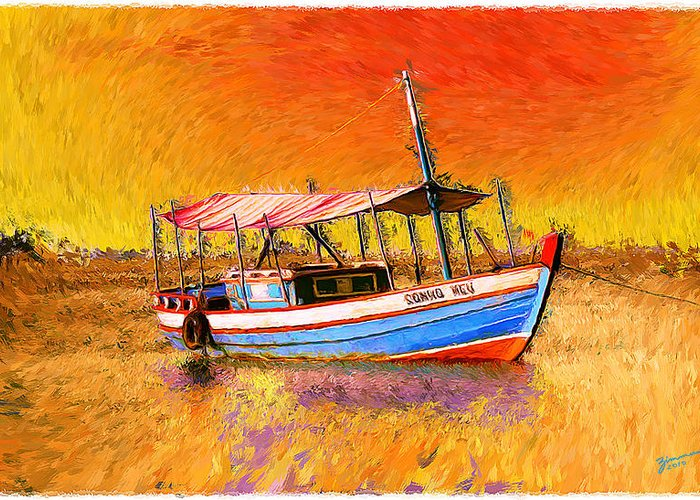 Boat Greeting Card featuring the digital art My Dream by Marcos Germano Zimmermann