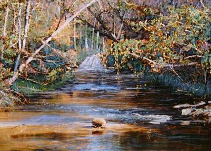 River; Waterfalls Greeting Card featuring the painting My Secret Place by Ben Kiger