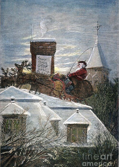 19th Century Greeting Card featuring the photograph Nast: Santa Claus by Granger