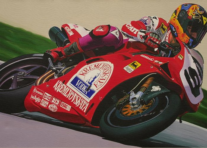 Ducati Greeting Card featuring the painting Neil Hodgson - Ducati World Superbike by Jeff Taylor