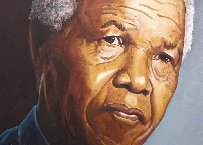 Portrait Greeting Card featuring the painting Nelson Mandela by Kenneth Kelsoe